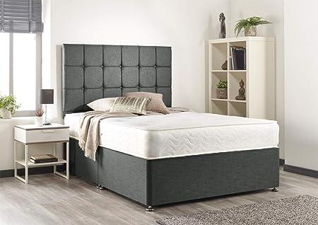 Grey Linen Memory Divan Bed - Support Mattress