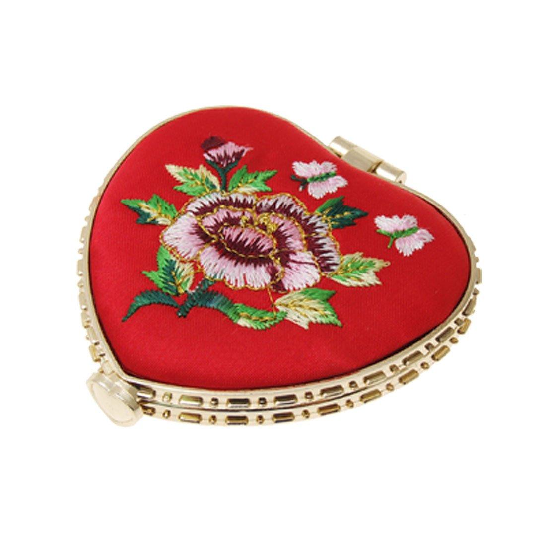 SODIAL(R) Mirroir portable piable de forme de coeur avec broderie Rouge Sourcingmap a10011200ux0217