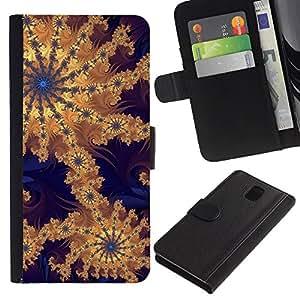 """Samsung Galaxy Note 3 III N9000 N9002 N9005 , la tarjeta de Crédito Slots PU Funda de cuero Monedero caso cubierta de piel ("""" Wallpaper Pattern Design Artwork Drawing"""")"""