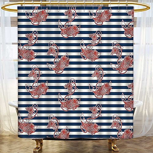 (AmaPark Bath Curtain Water Repellent Mold on Striped Surface Crescent Spiritual Theme Blue Red White Mold/Mildew Resistant 72 x 84 inches)