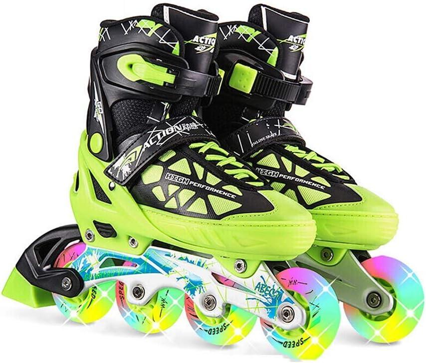 YANG 大人の子供のための調節可能なインラインスケート、初心者のためのすべての照明の車輪を特色にすることで、ブレード、ブラックグリーン (Size : M(EU 37 - EU 40))  M(EU 37 - EU 40)
