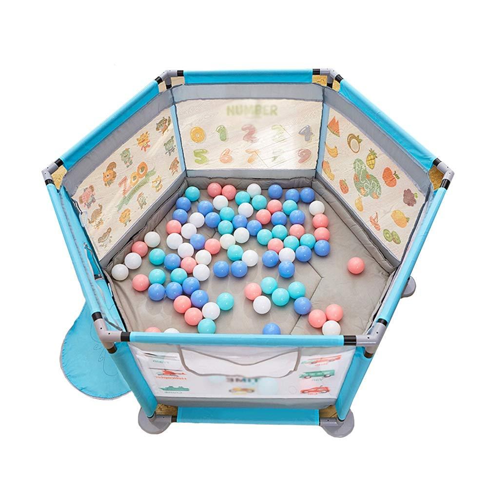 大好き ボールとクローリングマット付きの手すり、屋内の子供安定したヘビーデューティーフェンス : B07KFBG7T3、ポータブル保護フェンス140×65cm (色 : 青) 青 青 B07KFBG7T3, ケアフーク:ba348894 --- a0267596.xsph.ru