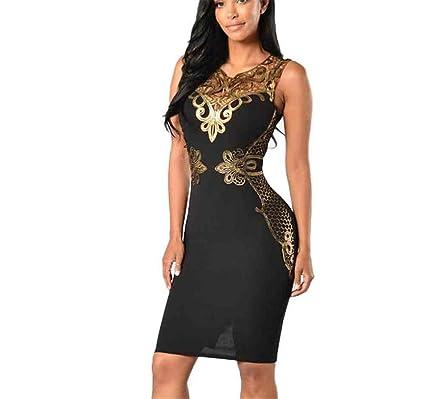 Frozac 2018 Mujeres de la manera Encaje Vestido New Nuevo Verano Sexy Bodycon sin Mangas Deep V Negro XL at Amazon Womens Clothing store: