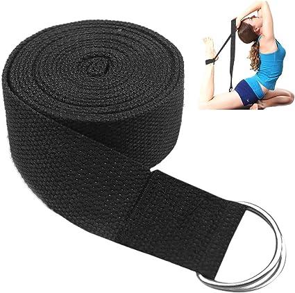 Fodlon Correa para Yoga Accesorio de Yoga Cintura Pierna Fitness Ajustable Correa para Entrenamiento Estiramiento con D-Ring Algodon Hebilla de Cinturon-Negro (183 * 3.8 cm): Amazon.es: Deportes y aire libre