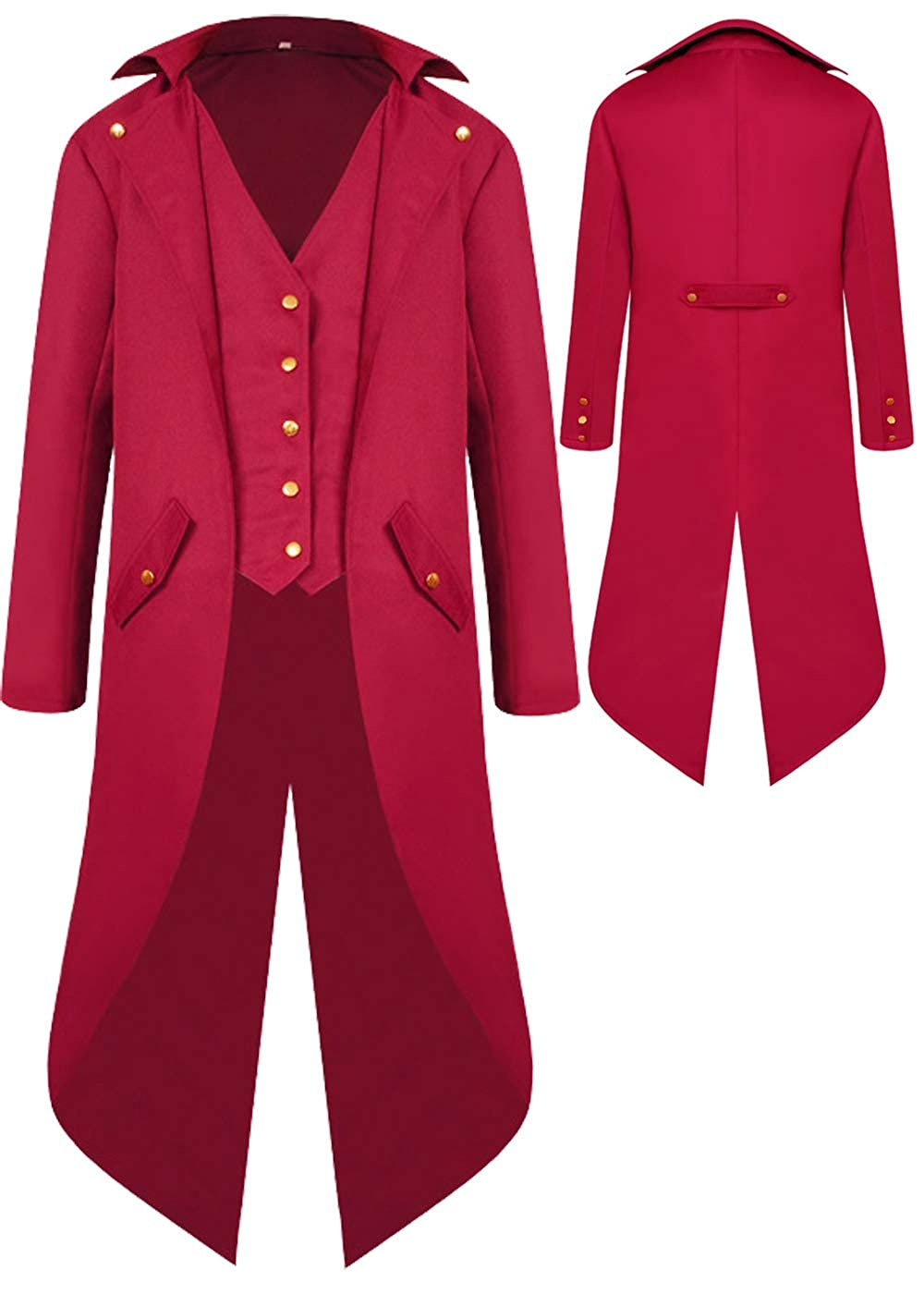 Mens Gothic Medieval Tailcoat Jacket, Steampunk Vintage Victorian Frock High Collar Coat (S, Red)