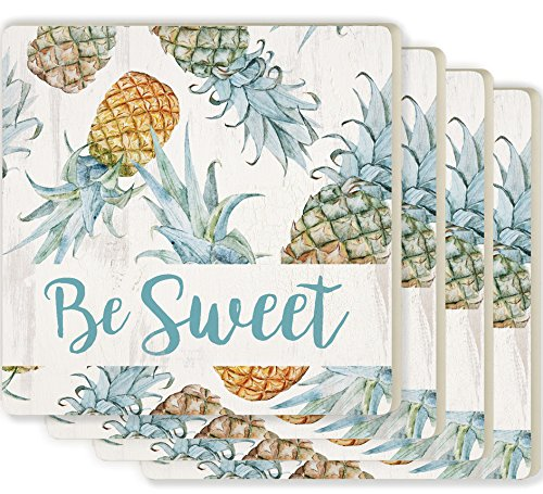 Coasters Pineapple - Be Sweet Pineapples White 4 x 4 Ceramic Coaster 4 Pack