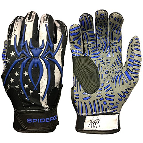 Spiderz Blue Line w/New Web Tac Grip Hybrid Baseball/Softball Batting Gloves w/Spider Web Grip and Protective Top Hand in Adult &Youth Sizes - Professional (PRO) Quality (Adult X-Large) ()
