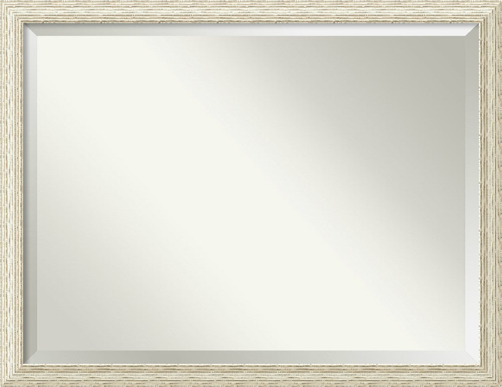 Amanti Art Framed Vanity Mirror | Bathroom Mirrors for Wall | Cape Cod White Wash Mirror Frame | Solid Wood Mirror | X-Large Mirror | 33.38 x 43.38