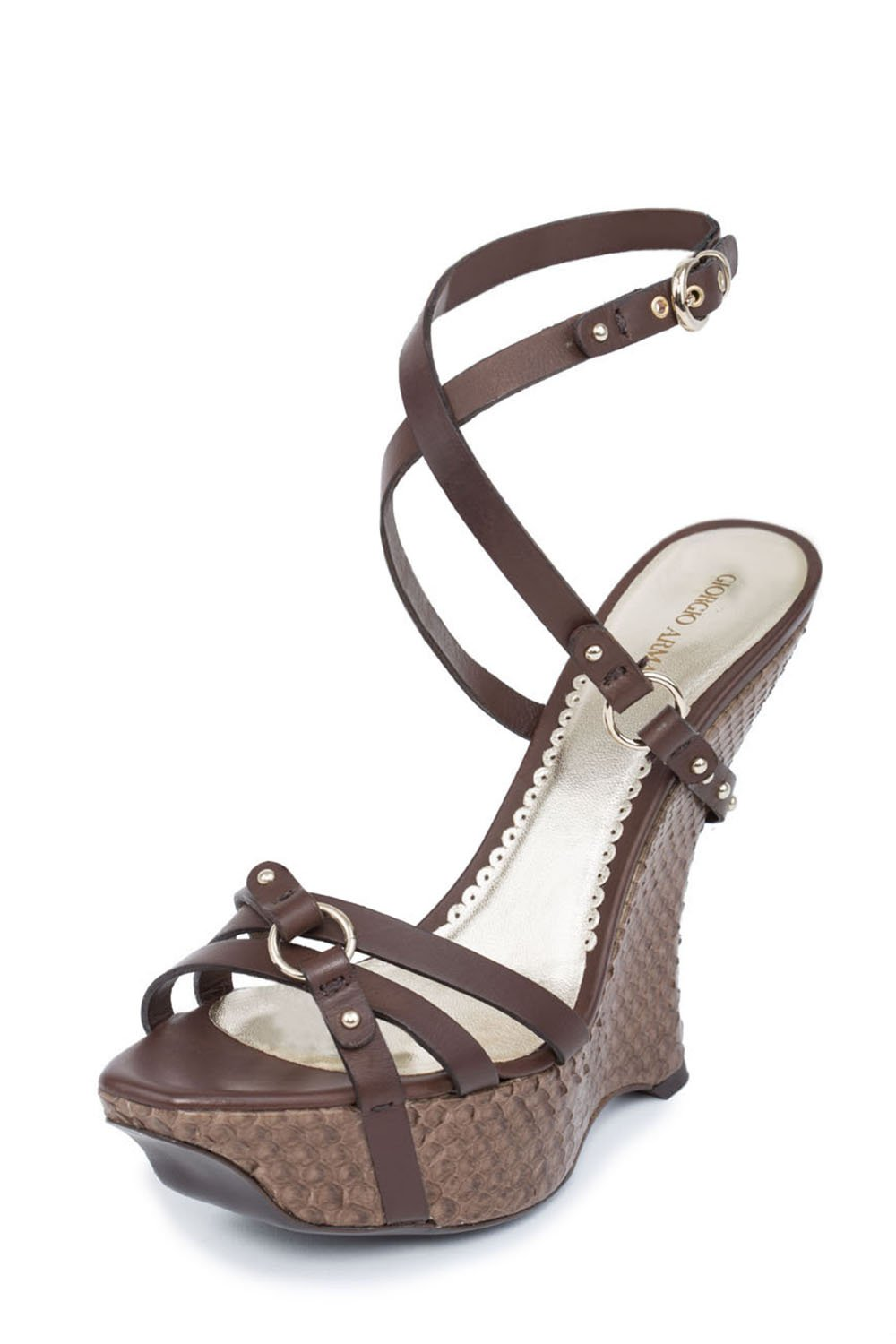GIORGIO ARMANI Details Women Brown Snake Embossed Platform Wedge Strappy Sandals Shoes B01CI92Q0W 6.5 B(M) US|Brown