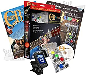 chord buddy guitar learning system with clip on chromatic tuner musical instruments. Black Bedroom Furniture Sets. Home Design Ideas