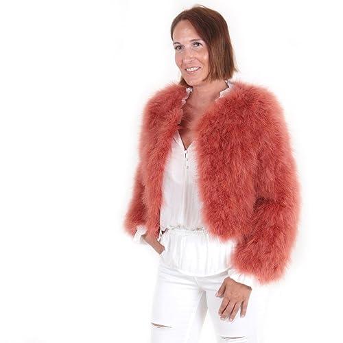 Chaqueta corta de pelo mujer abrigo de pluma auténtica EYES ON MISHA otoño invierno, fiesta