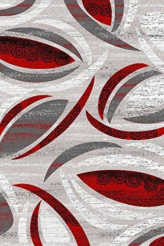 プレミアム3d手彫りモダン8 x 10 8 x 11 Rug Contemporary 1070グレーグレーレッド   B07BL4C6N1