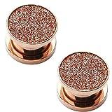 BodyJ4You Rose Goldtone Screw Fit Plugs Sugar Glitter 8 Gauge - 00 Gauge - 2 Pieces