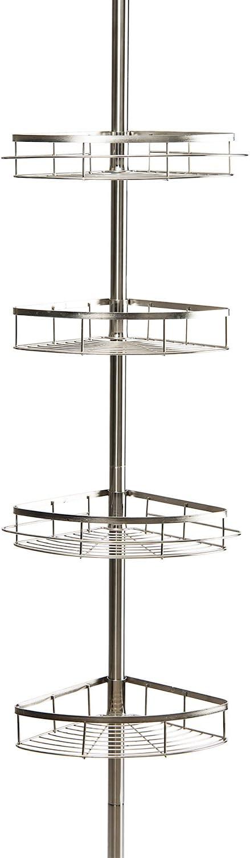 Badezimmer-Eckregal 110 4 Ebenen 310 cm Teleskop-Duschregal ABS Edelstahl