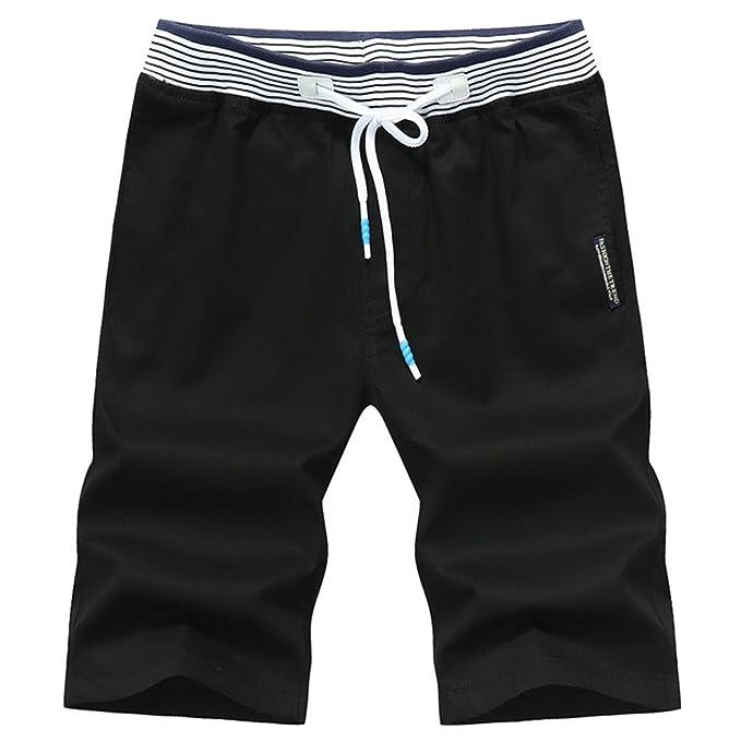 WanYangg Hombre Bermudas Pantalones Cortos Ajustados Slim Fit Moda Casual  Shorts Verano Playa Pantalon Corto Negro XL  Amazon.es  Ropa y accesorios 3e58e1b090f7