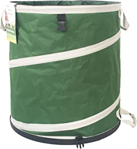 31 Gallon Collapsible Pop-Up Garden Leaf Bag (19x25 inches) Hardshell Bottom with Drawstring Hood and 4 Handles Reusable for Lawn Bag,Yard Waste Bag,Trash Bag,Laundry Clutter Bag,Travel Camping Bag