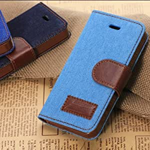 Flower Floral Style Wallet Flip Magnet Stand Leather Case Cover with Credit Card Holder for Apple iPhone 5C(Black), with Screen Protectorand Small Gift (iphone 5 5s, light blue)