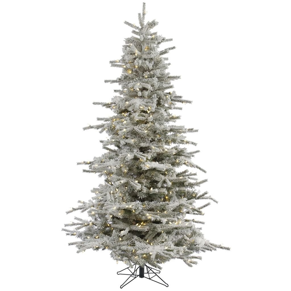 Vickerman Pre-Lit Flocked Sierra Tree with 400 Warm White Italian LED Lights, 6.5-Feet