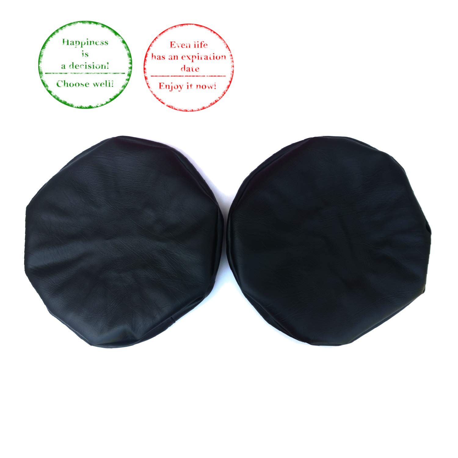F&T Stool Covers | 2 Pack Bar Stool Cover by Royal Industries | Round 15 Inch Diameter Vinyl Black Bar Stool Covers with Elastic | Durable Bar Stool Seat Covers