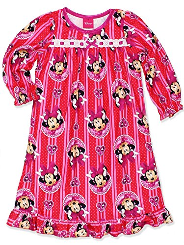 Disney Minnie Mouse Little Girls Flannel Granny Gown Nightgown (6, Jewel Red/Pink)