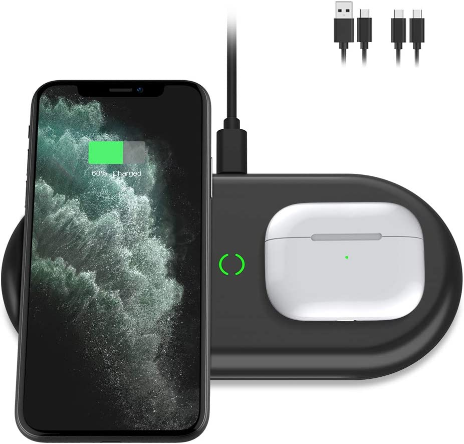 Yootech Dual Fast Wireless Charger, 2 Coils 20W Max 2 in 1 Wireless Charging Pad, Compatible with iPhone SE 2020/11/11 Pro/11 Pro Max/Xs MAX, Galaxy S20/Note 10/S10/S9, AirPods Pro(No AC Adapter)