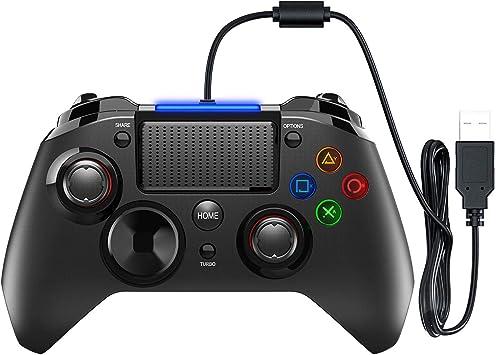 VicTsing Gamepad Controller USB, Mando para PC con Cable Joysticks con Doble vibracion Turbo y Botones de activacion para PS4 / PS3 / PC (Windows XP / 7/8 / 8.1/10) / Android/Steam, Negro: Amazon.es: Electrónica