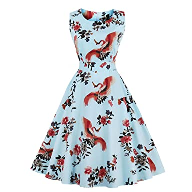 KeKeD23921 Olddnew Retro Printed Vintage Dress Womens Slim Dress Fashion Sleeveless Dress Hepburn Party Swing Dress Vestidos at Amazon Womens Clothing ...