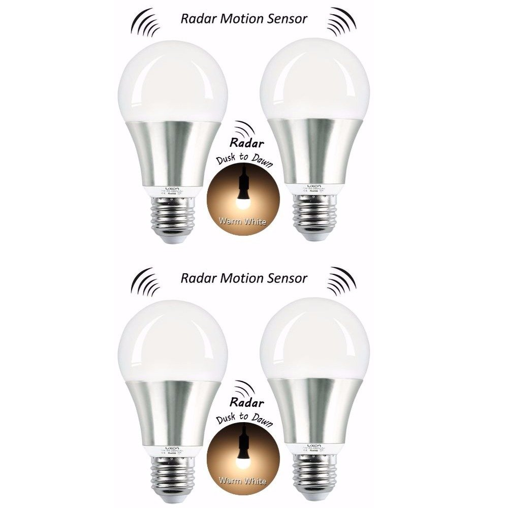 LUXON Motion Sensor Light Bulb 7W Smart Bulb Radar Dusk to Dawn LED Motion Sensor Light Bulbs E26 Base Indoor Sensor Night Lights Soft White 2700K Outdoor Motion Sensor Bulb Auto On/Off (Pack of 4) by LUXON