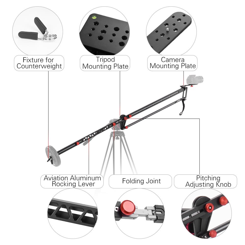 VILTROX YB-K275 DSLR Camera Jib Crane 3m Video Camera Supports Stabilizers Telescoping Portable Travel Jib Crane Arm, with carring bag by VILTROX (Image #2)