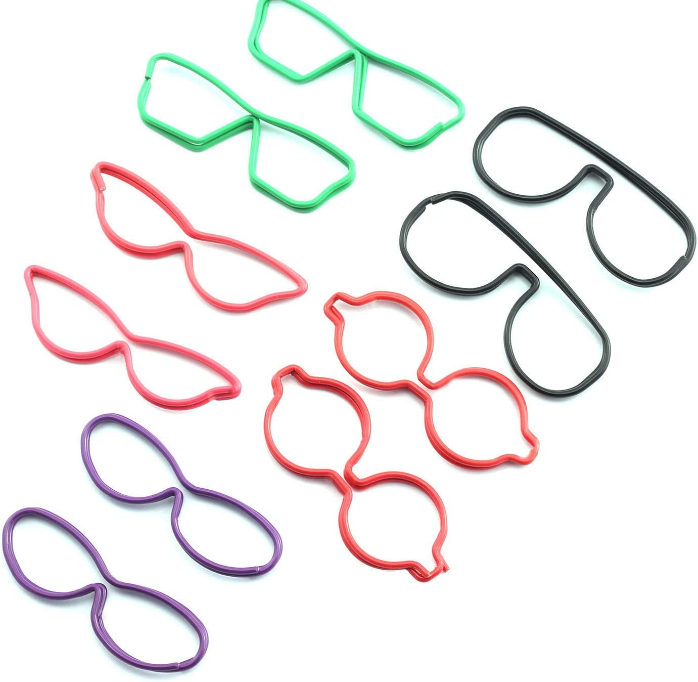 RuiLing 30PCS Glasses Shape Paper Clip Metal Wire Binder Multi-Purpose Stationary Home Office School Supply Colorful Creative Colorful DIY Hollow Out Bookmark
