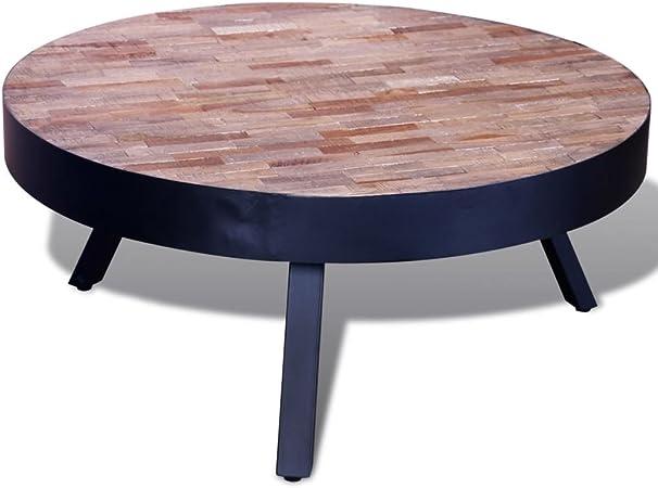 Tidyard Table Basse Table D Appoint Ronde En Bois De Teck