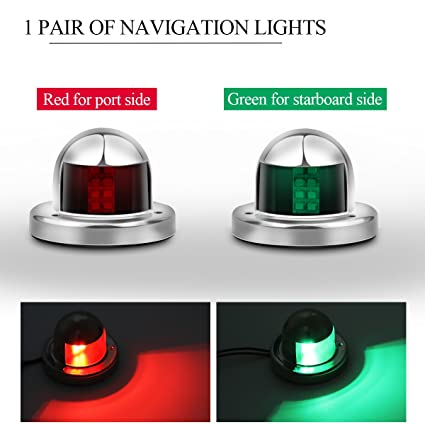 Cheap Sale 1pair 12v Marine Boat Yacht Led Bow Navigation Light Stainless Steel Red Green Sailing Signal Light Boat Parts & Accessories