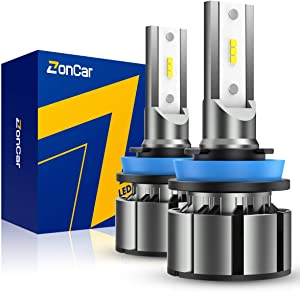ZonCar H11 / H8 / H9 / H16 Led Headlight Bulbs, 2020, 2 Pcs/Kit, 12 CSP Chips, 6500K Xenon White Extremely Bright Light 12V.