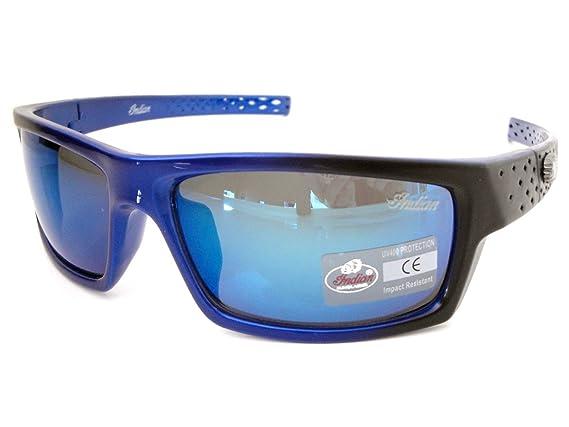 Indian Sonnenbrille Herren Kunststoff Rundumverstärkung schwarz & blau Rahmen quadratisch Revo Blau Objektiv Styling n19J7gPf