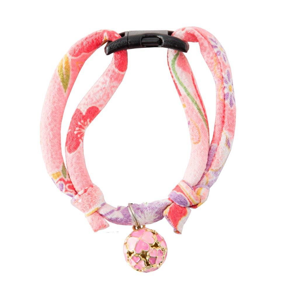 Necoichi Chirimen Cat Collar with Clover Bell (Pastel Pink) by Necoichi