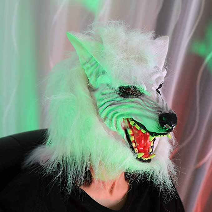 Amazon.com: Weite Halloween Rubber Wolf Mask, Scary Masquerade Cosplay Costume Masks for Adults Party Decoration Props, No Harsh Smell (Brown): Toys & Games