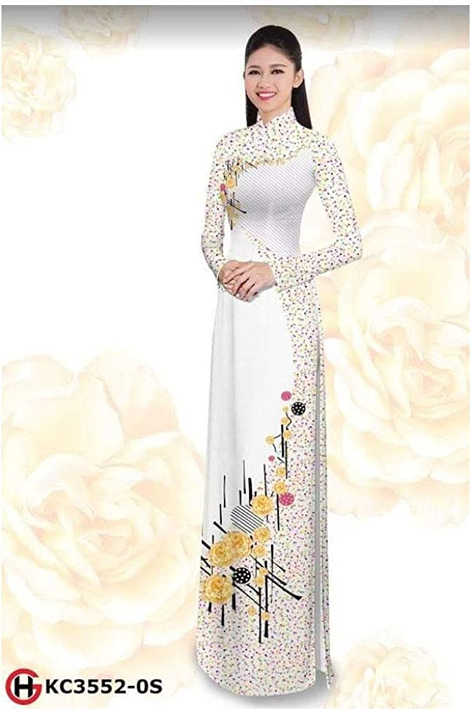 Silk 3D ADVN0105201958 Ao Dai Traditional Vietnamese Long Dress Collections with Pants