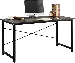 DlandHome 55 inches Medium Computer Desk, Composite Wood Board, Modern Home Office Desk/Workstation/Table, WK-JJ, Black