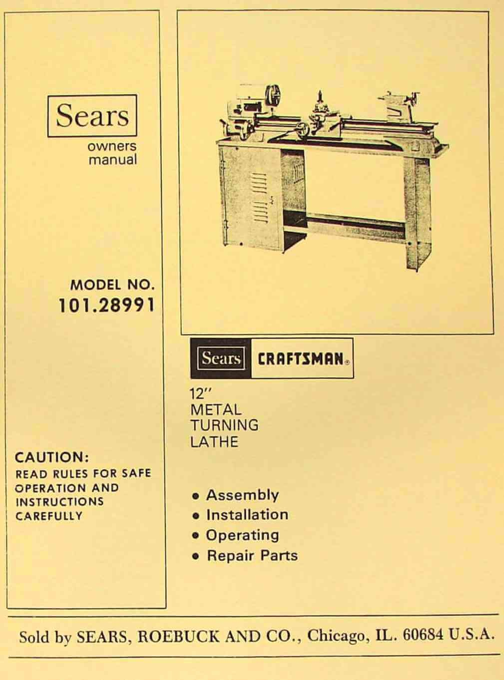 Craftsman Atlas 10128991 12 Metal Lathe Operators Parts Manual Sewing Machine Threading Diagram Misc Books