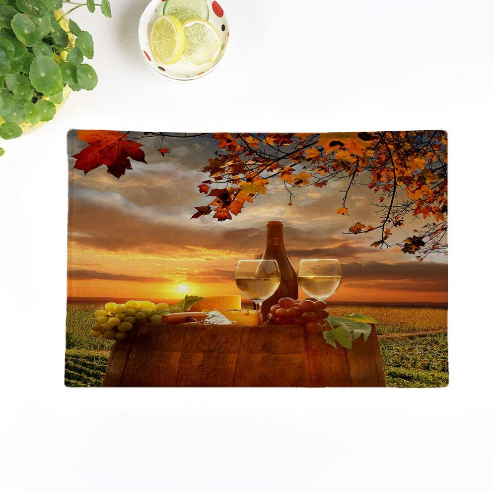 Topyee Set of 4 Placemats White Wine with Barrel on Vineyard in Chianti Tuscany Italy Autumn Landscape Fall 17x12.5 Inch Non-Slip Washable Place Mats for Kitchen Dinner Table Mats Parties Decor