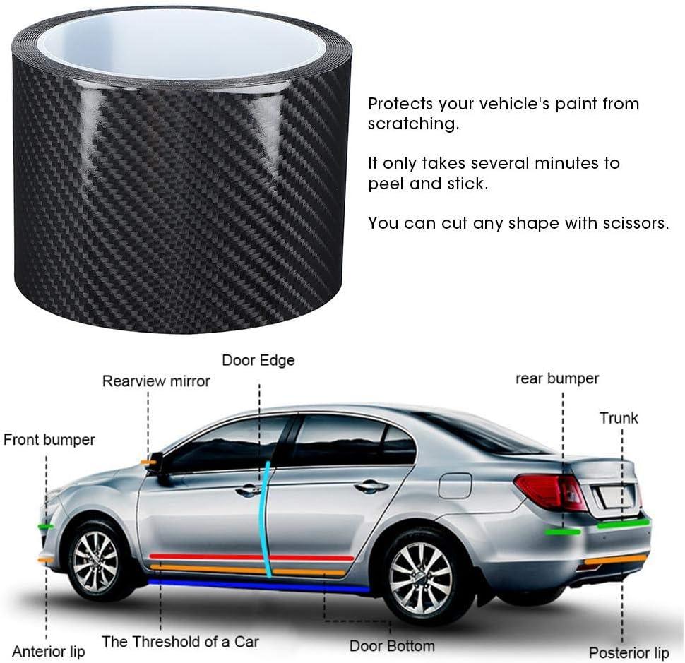 Duokon Adesivo antigraffio nero in fibra di carbonio con pellicola protettiva per auto 3CM*3M