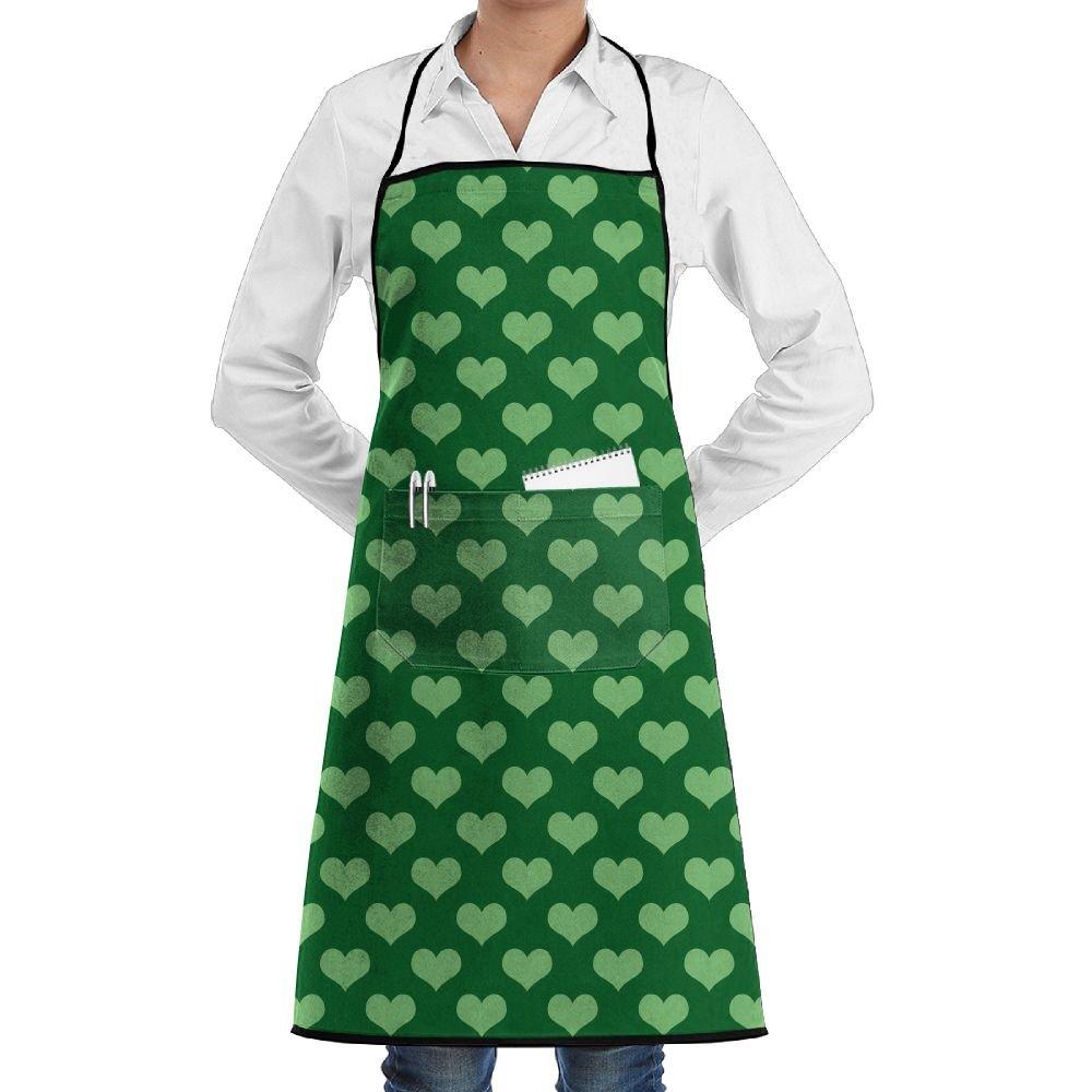 Kitchen Bib Apron Neck Waist Tie Center Kangaroo Pocket Green Love Sign Waterproof by Kla Ju (Image #1)