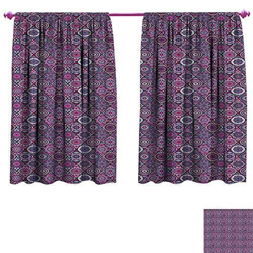Mandala Window Curtain Fabric Arabic Ottoman Motifs Vintage Design Elements Diamond Line Moroccan Pattern Drapes for Living Room W55 x L63 Bluegrey Grey Pink ()