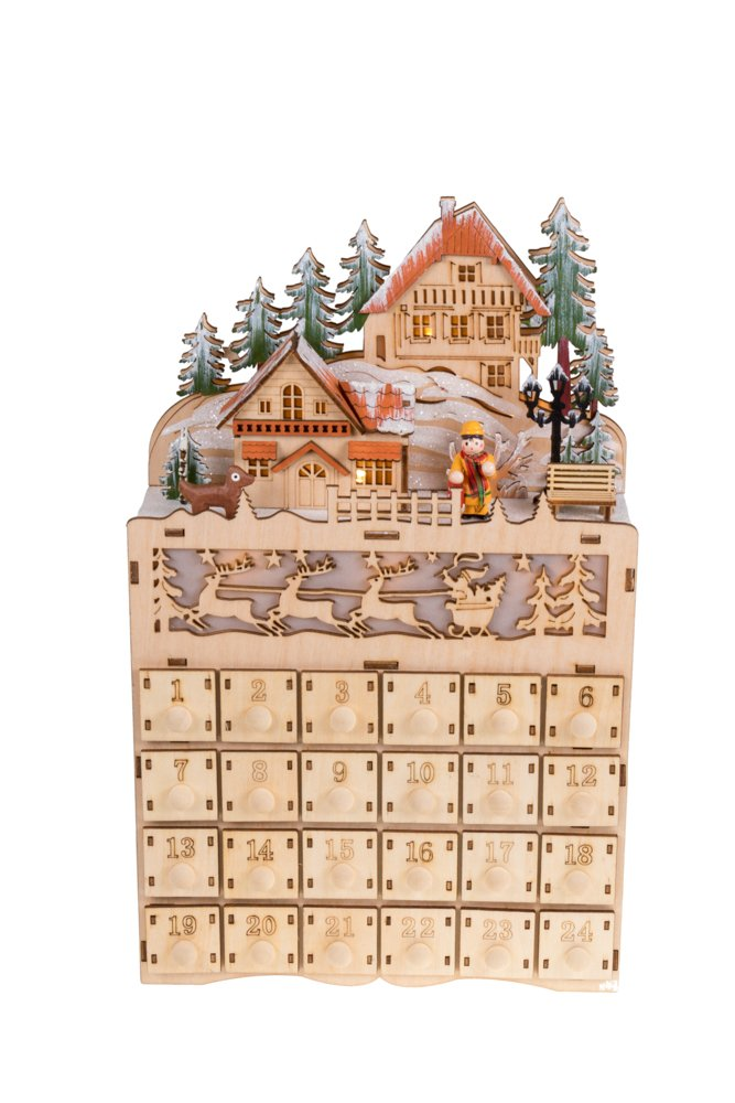 Clever Creations Wooden Christmas Village Advent Calendar Diarama | LED Lights | Wood Construction | Unique Holiday Decoration | Measures 8.75'' x 3'' x 14'' | Battery Powered