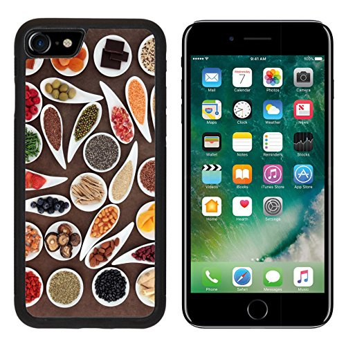 MSD Premium Apple iPhone 7 Aluminum Backplate Bumper Snap Case Image ID 27300150 Healthy super food selection in white porcelain bowls over brown lokta paper background