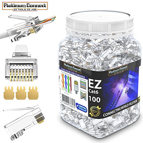 RJ45 CAT6 Passthrough Connectors (100 PCS),Gold Plated 3 Micron 3u, High Performance 3 Prong Pins (CAT6/100 PCS)