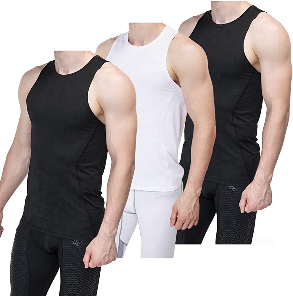 Sieayd Mens Compression Tank Top Baselayer Cool Dry Sleeveless Workout Athletic Sport Shirts Pack of 3
