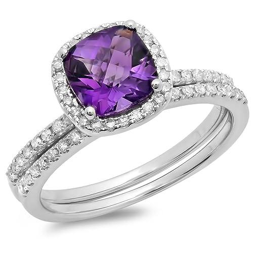 10K Gold Cushion Cut Amethyst & Round White Diamond Halo Engagement Ring Set