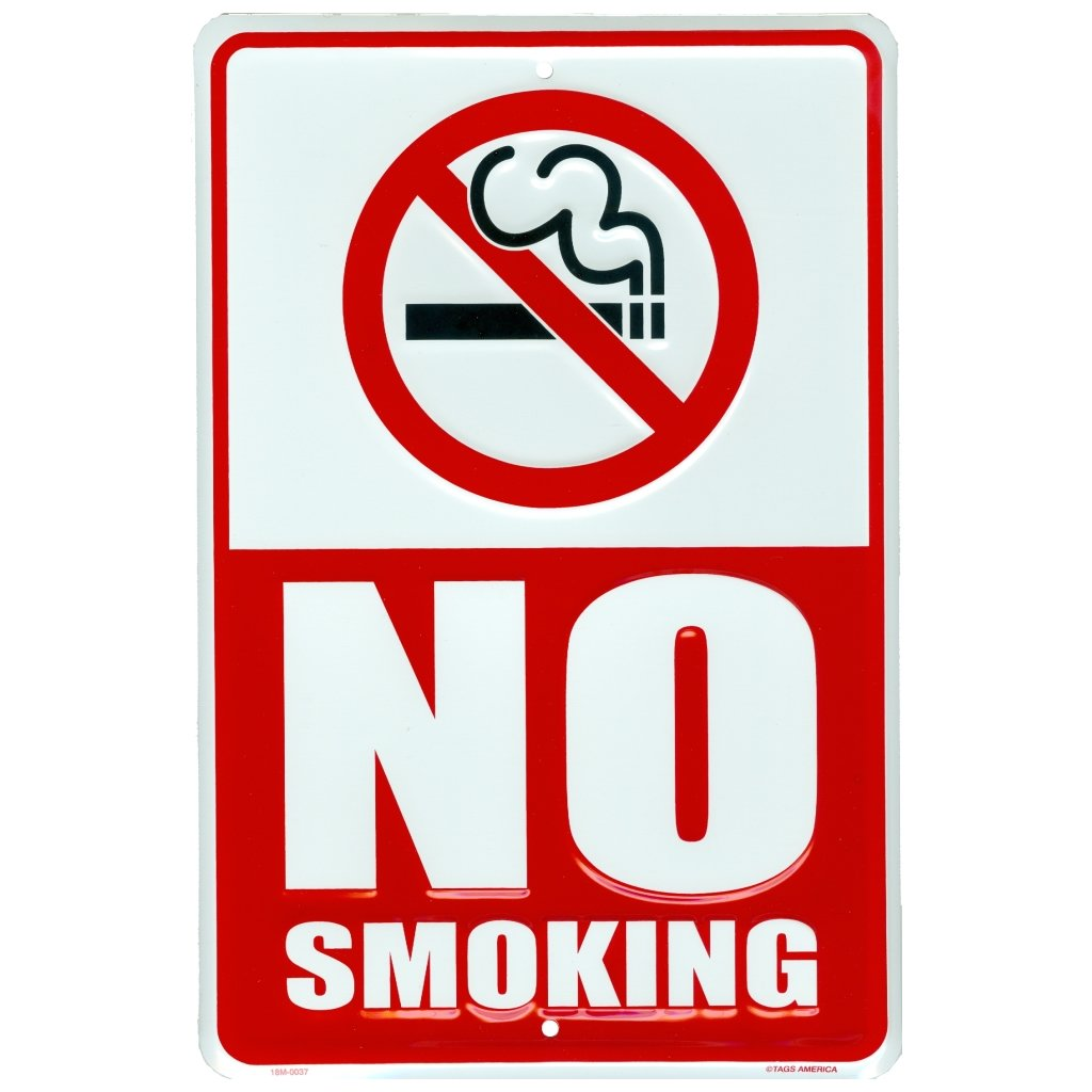 No Smoking Sign, Metal Yard Sign for House, Home or Business, 8 x 12 inch Rust Free Aluminum, Easy Indoor or Outdoor Mounting