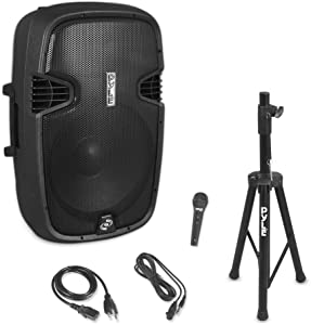 """Pyle PPHP155ST Wireless Portable PA Speaker System - 1500W High Powered Bluetooth Compatible Active Outdoor Sound Speakers w/ USB SD MP3 RCA - 35mm Mount, Stand, Microphone, Power Cable, Black, 15"""""""